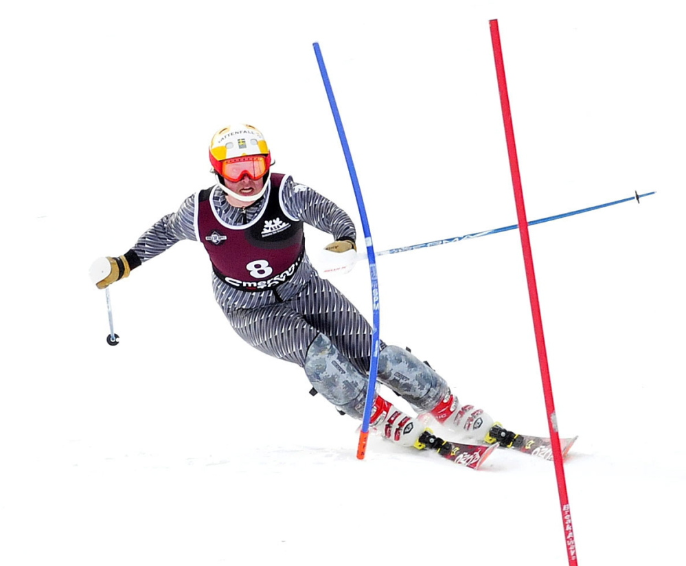 Michael Miller of Skowhegan Area High School competes in slalom races Tuesday at Mt. Abram in Greenwood.
