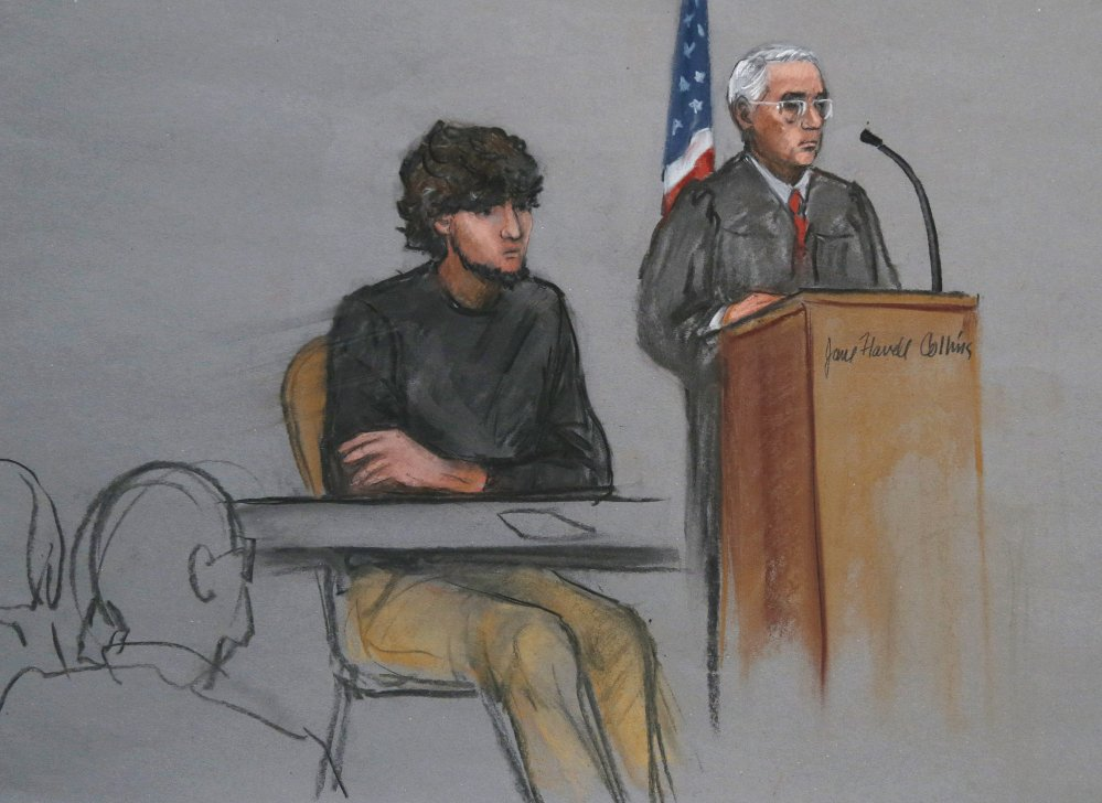 Boston Marathon bombing suspect Dzhokhar Tsarnaev is depicted beside U.S. District Judge George O'Toole Jr. as O'Toole addresses a pool of potential jurors in a jury assembly room at the federal courthouse in Boston last month. Tsarnaev's lawyer insists that the court cannot find a fair and impartial jury in Massachusetts because too many people believe he's guilty and many have personal connections to the marathon or the bombings.