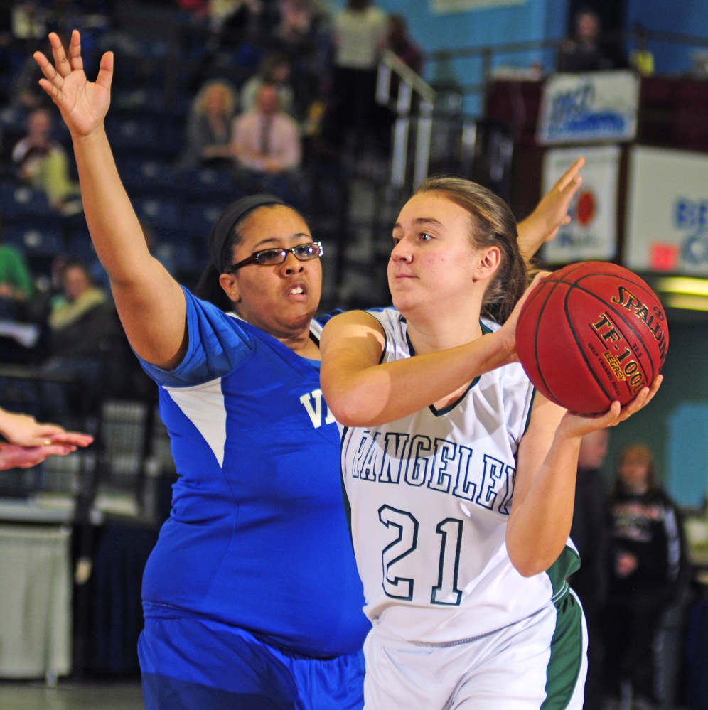 Valley senior forward Courtney Mills, left, covers Rangeley sophomore guard Celia Philbric kduring a Western D quarterfinal Tuesday at the Augusta Civic Center.
