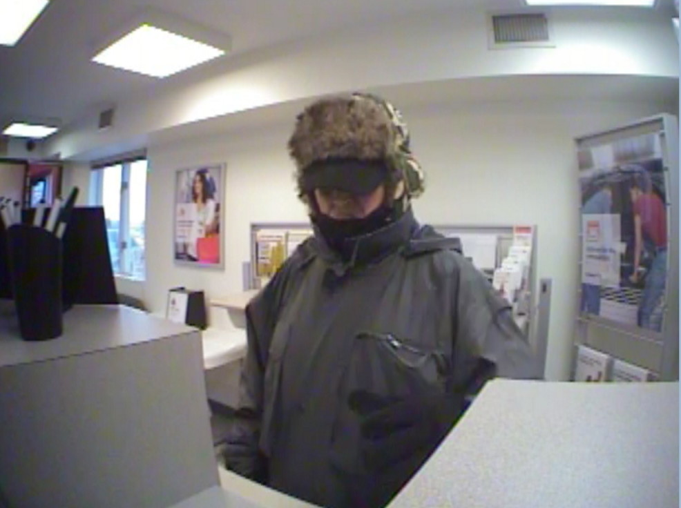 The bank robber sought by local police agencies robbed the Key Bank on Kennedy Memorial Drive in Waterville on Feb. 21, 2013.