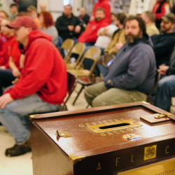 A ballot box sits on a table before a meeting in Augusta Sunday at which FairPoint workers ratified a new contract.