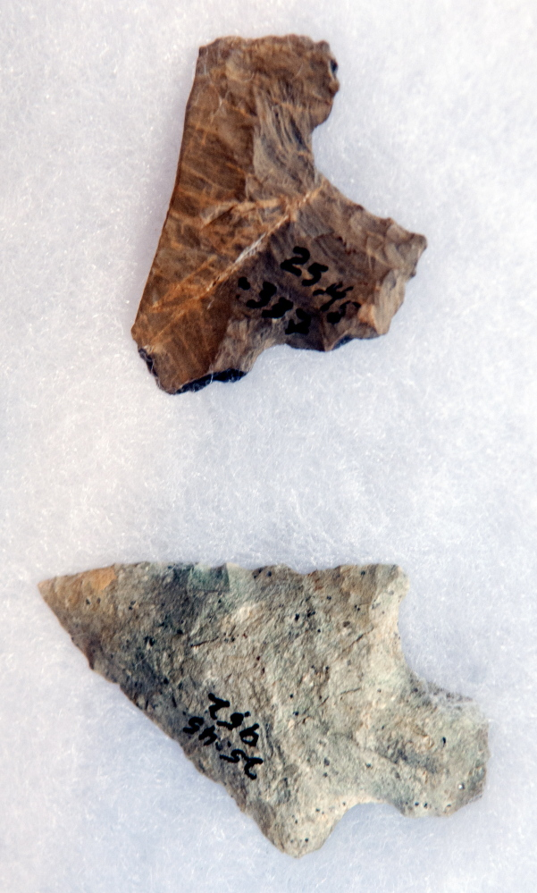 Arthur Spiess, an archeologist with the Maine Historic Preservation Commission, showed these artifacts from the Dresden Falls Archaic Site during a lecture on Sunday at Bridge Academy Public Library in Dresden.