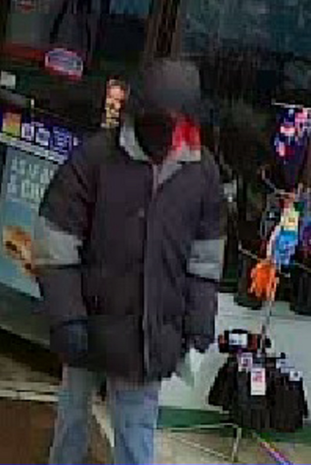 A surveillance image of the man who police say robbed the Cumberland Farms convenience store on Main Street in Fairfield early Monday morning.