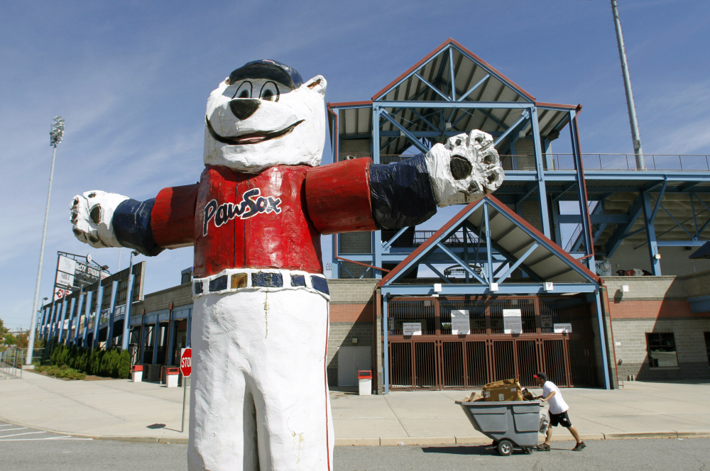 """A statue of the Pawtucket Red Sox baseball team mascot """"Paws"""" stands outside McCoy Stadium in Pawtucket, R.I. The team has been sold and is moving."""