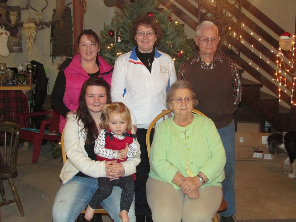 """CAP.cutline_standalone:In front, from left, are Kayla Duguay, of Augusta, holding her daughter Ivy Duguay; and Barbara Smith, of Farmingdale. In back, from left, are Julie Murphy, of Augusta; Joyce Farren, of Augusta; and Loring """"Bud"""" Smith, of Farmingdale."""