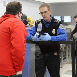 Passengers are screened Tuesday by the Transportation Security Administration before boarding a flight at the Augusta State Airport. Homeland Security funds that pay TSA agents are set to expire unless Congress authorizes a spending bill for the agency.