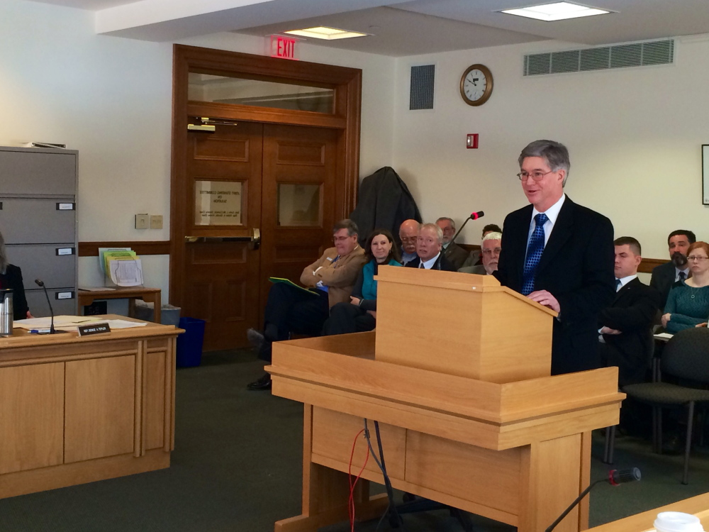 Russ Drechsel, president of Madison Paper Industries in Madison, testifies before the state Legislature's Taxation Committee in favor of two bills that would provide relief to Madison and Skowhegan after property tax valuations on mill properties was slashed last year.