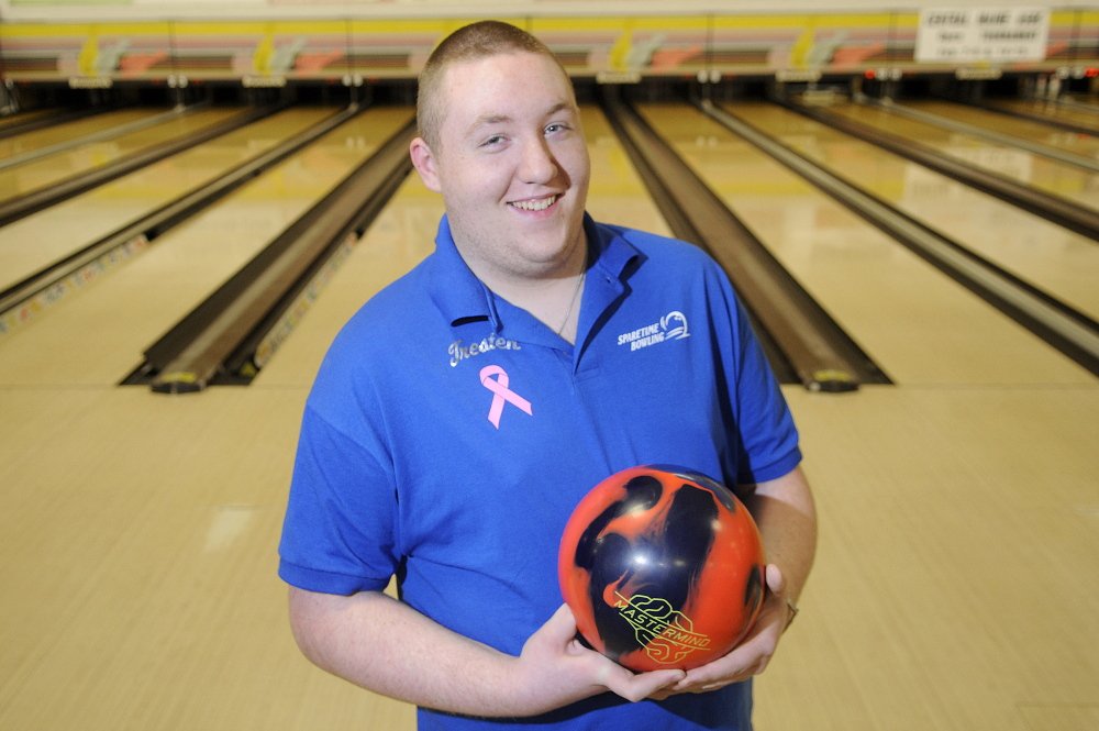Tresten Bergeron of Lawrence High School recently won the individual state bowling championship. He competed Wednesday in a match at Sparetime Recreation in Hallowell.