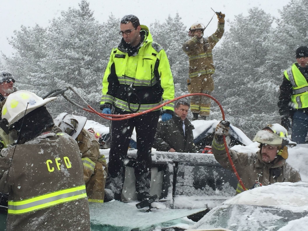 Power tools were used to open up vehicles involved in  the I-95 crashes Wednesday; some injured people had to wait while efforts were concentrated on people more seriously hurt.