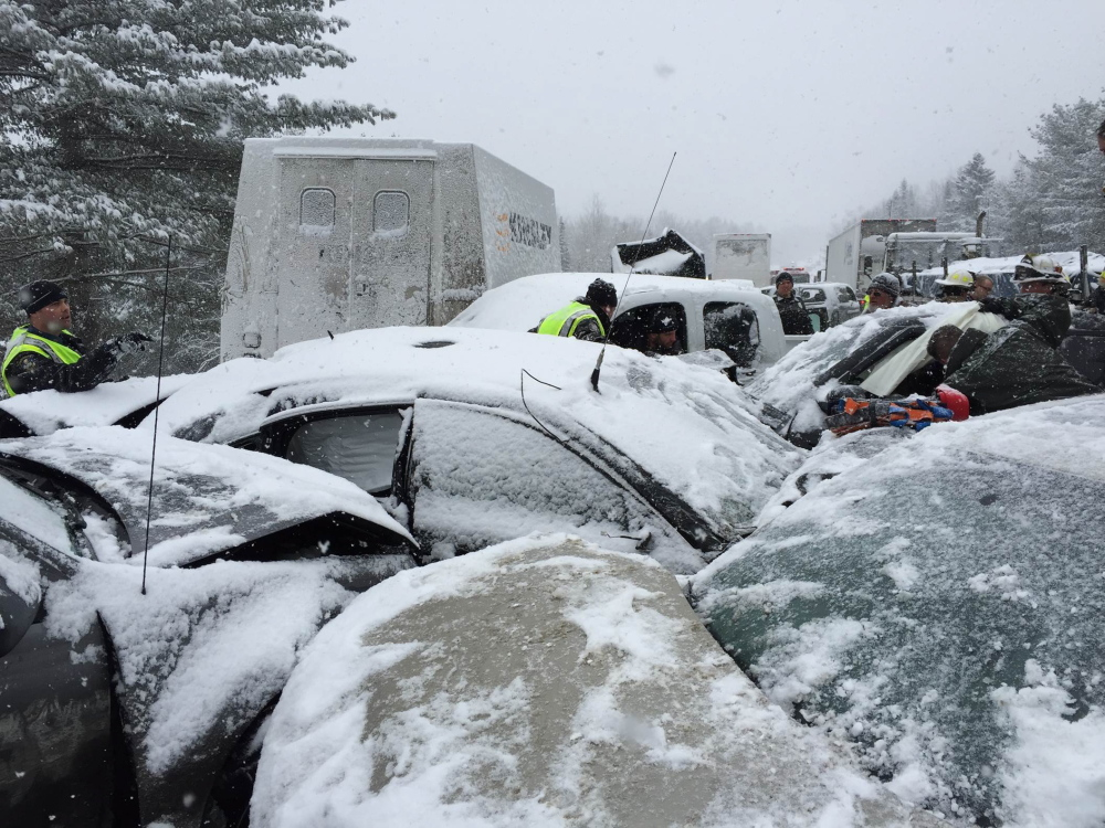 Some of the 75 cars wrecked on I-95 in the Etna area Wednesday were so tightly pressed together that there was little room for rescue workers to reach the injurerd.