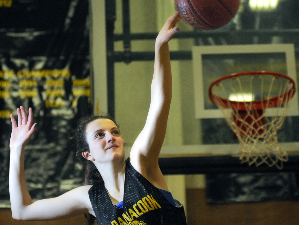 Maranacook Community High School's Elizabeth D'Angelo practices Wednesday in Readfield. The Black Bears play Houlton on Saturday for the Class C state championship.