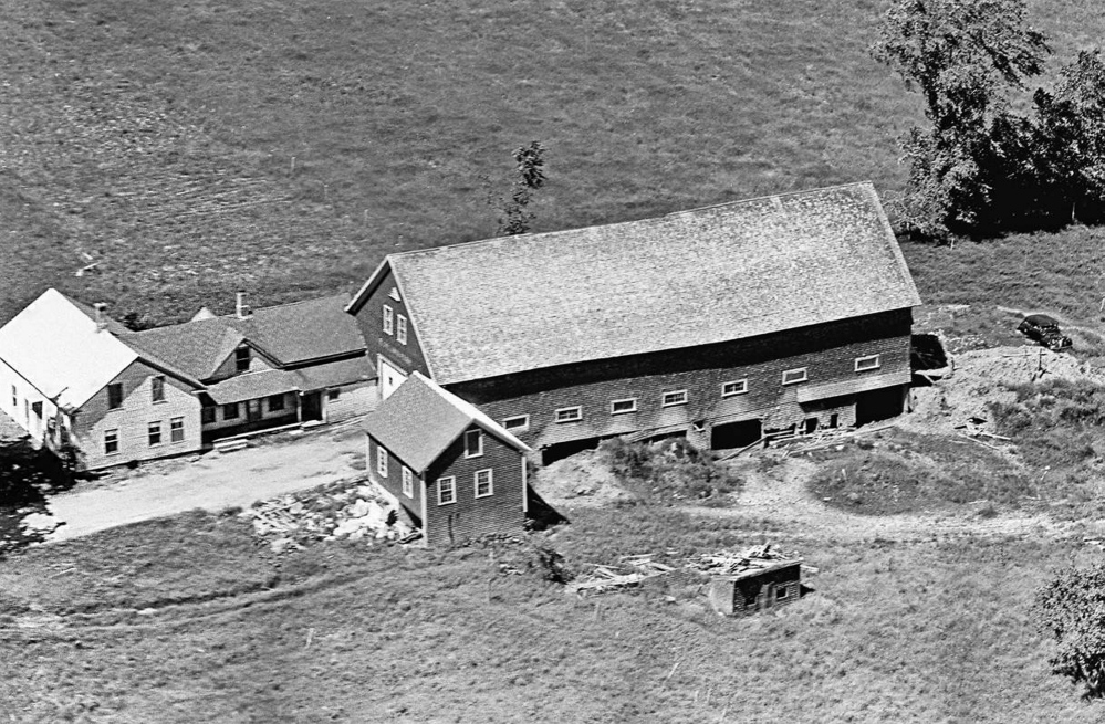 The former Moody farm in Cornville, in a 1963 aerial photograph. The large barn  and many of the outbuildings have been razed over the years. The photo is among hundreds taken in rural Maine that were recently released online.