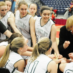Rangeley coach Heidi Deery talks to her team in the fourth quarter of the Western D championship game last Saturday at the Augusta Civic Center. Deery leads the team into the Class D state title game Saturday against Washburn.
