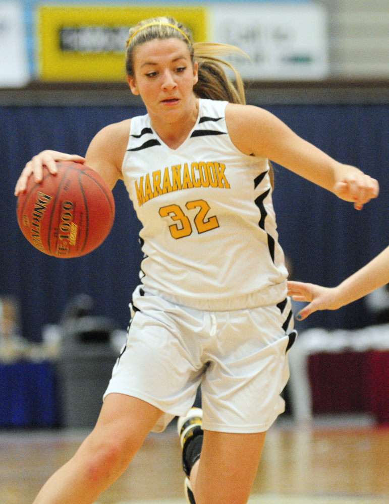 Maranacook senior forward Christine Miller plays against Mountain Valley during a Western C semifinal Feb. 20 at the Augusta Civic Center. Miller and the Black Bears will go for the Class C state title Saturday against Houlton.
