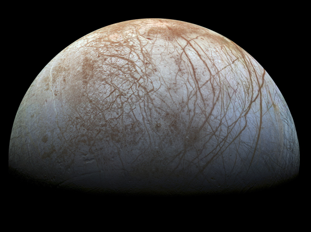 A new mosaic made from images taken by NASA's Galileo spacecraft in the late 1990s reveals the patterned surface of Jupiter's icy moon, Europa.