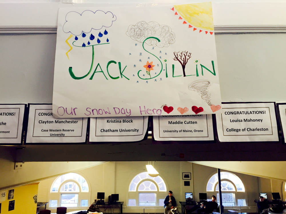 "When freshman Jack Sillin correctly predicted four snow days in quick succession at North Yarmouth Academy, a handful of upperclassmen posted congratulatory signs around campus dubbing him ""Our Snow Day Hero."""