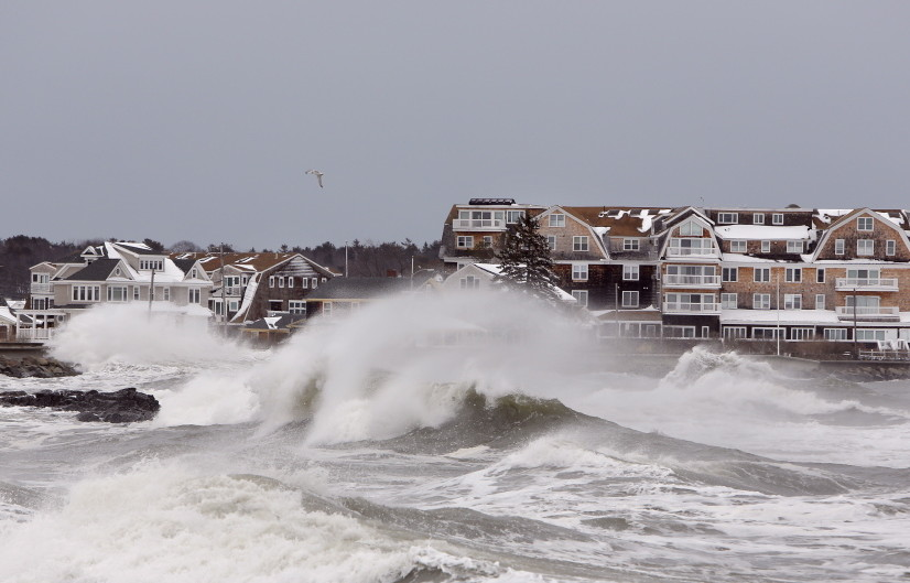 High surf pounds the shore in Kennebunk as a winter storm over the ocean travels past Maine on March 8, 2013. The waves reached 25 feet and caused flooding along the shore in several York County communities, which face worse flooding if seas continue to rise.