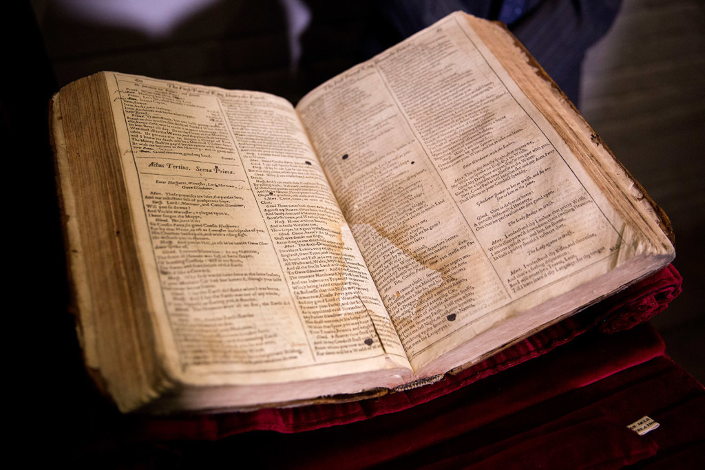 This is a First Folio of Shakespeare plays recently discovered in Saint-Omer in France. The Folger Shakespeare Library in Washington has organized a traveling tour of First Folios to mark the 400th anniversary of Shakespeare's death. The Associated Press