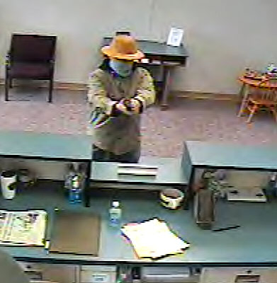 Brunswick police released this photo of the man who robbed the Bank of Maine at 137 Maine St. at gunpoint Wednesday afternoon.