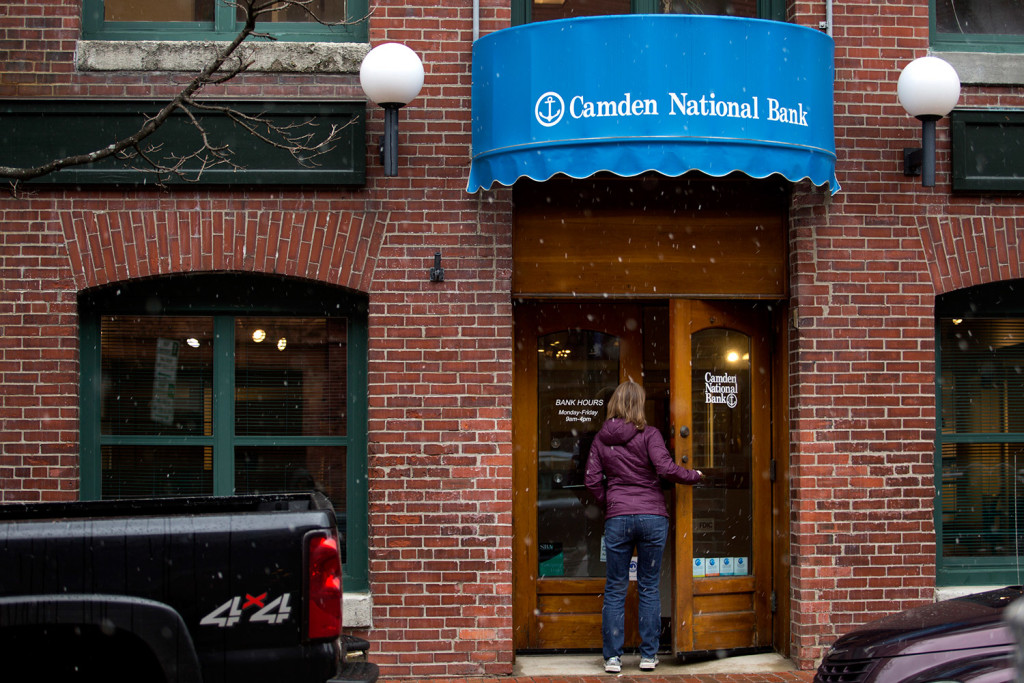 When Camden National, whose downtown Portland office is shown, merges with The Bank of Maine, the combined banks will keep the Camden name.
