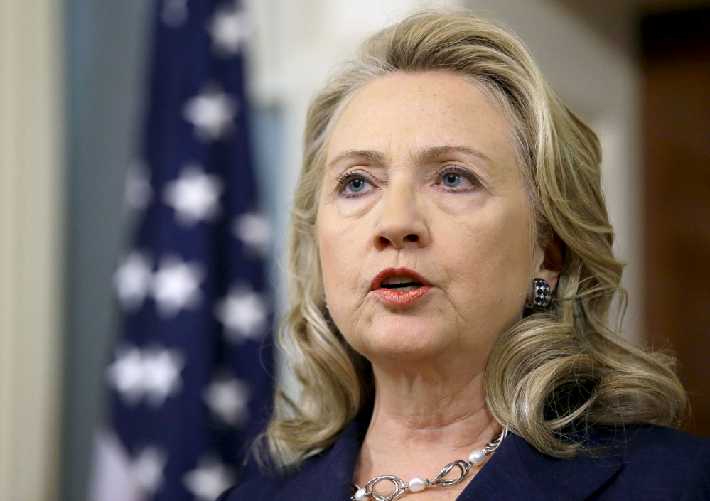 In this Sept. 12, 2012 file photo, then-Secretary of State Hillary Rodham Clinton speaks at the State Department in Washington.