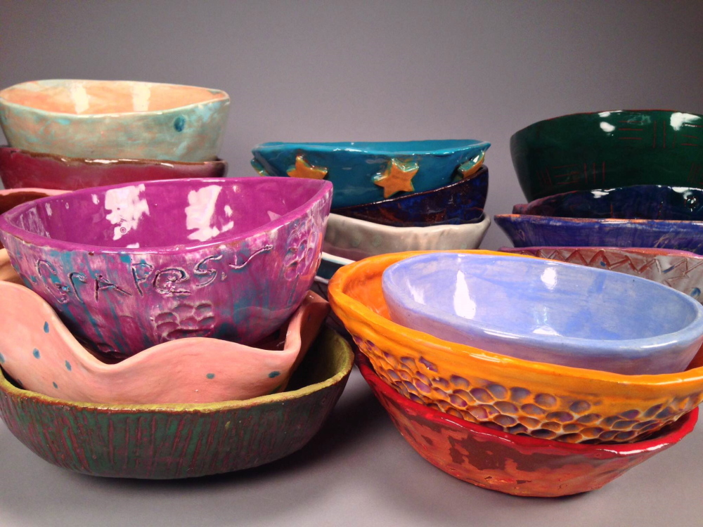Messalonskee High School crafted ceramic bowls in pottery class to be sold as part of the March 13 benefit dinner.