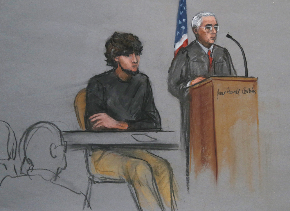 Boston Marathon bombing suspect Dzhokhar Tsarnaev is depicted beside U.S. District Judge George O'Toole Jr. as O'Toole addresses a pool of potential jurors in a jury assembly room at the federal courthouse in Boston in January. The panel has been selected.