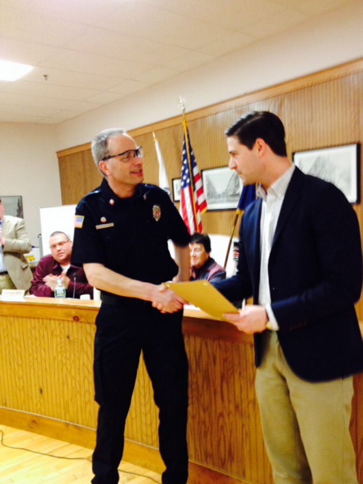 Waterville firefighter Allen Nygren received mayoral recognition from Mayor Nick Isgro at Tuesday's City Council meeting. Isgro said Nygren put his own life at risk and acted in a selfless and professional manner to provide emergency medical care to many injured and trapped motorists.