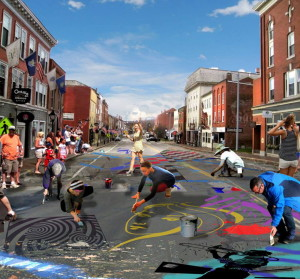 Artist Chris Cart's vision of what a Hallowell Water Street painting party might look like. The city's creative community is proposing residents paint a giant mural on the street before it is torn up for construction, a project that's still several years away.