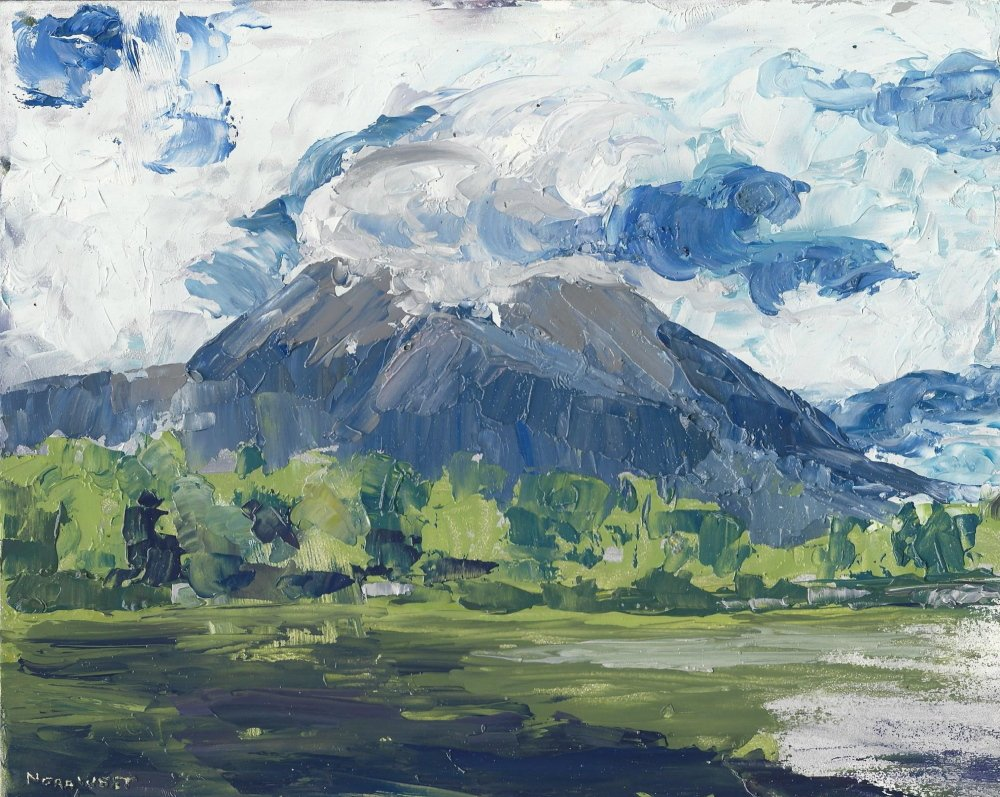 "On exhibit: ""Katahdin in the Clouds,"" an 8"" x 10"" oil painting by Nora West is one of the works she produced as the Artist in Residence at Baxter State Park last summer and which will be exhibited at High Peaks Artisan Guild gallery March 6 during the Kingfield Friday Artwalk and throughout the month."