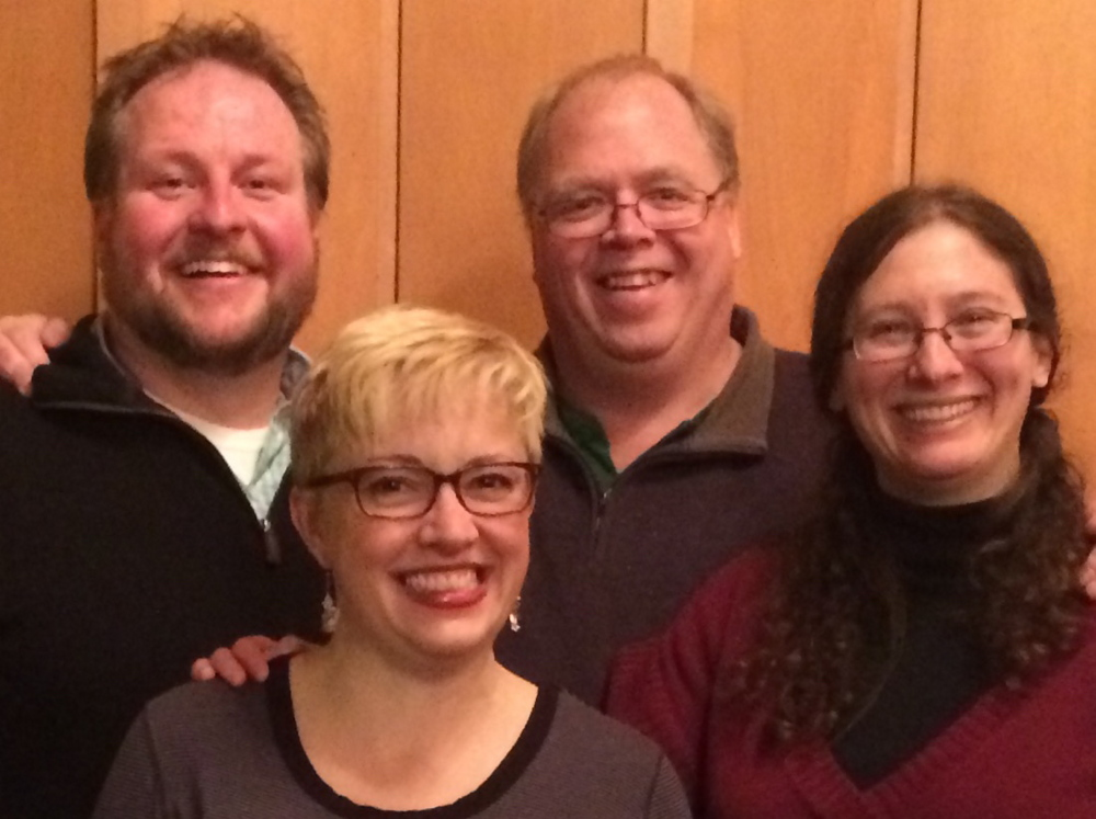 Captial City Improv, from left, are Dennis Price, Jen Shepard, David Greenham and Liz Helitzer. The group will perform at 7:30 p.m. Saturday, March 7, at Johnson Hall in Gardiner.
