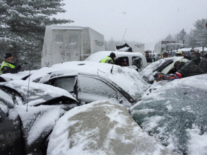 Using speed sensors built into some roadside signs, the state Department of Transportation has concluded that the average speed of a vehicle in the 15 minutes before the 75-car pile-up on Interstate 95 last week was more than 10 mph faster than the 45 mph speed recommended for snowy and icy conditions.