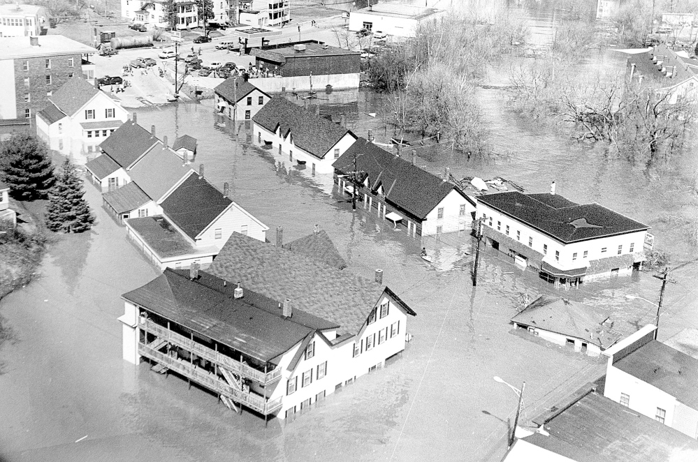 Bond Brook and the Kennebec River flood water covers Bond Street in Augusta on April 1, 1987. Mount Vernon Avenue is in the top left. State and emergency officials met Thursday to assess this year's potential for spring floods.