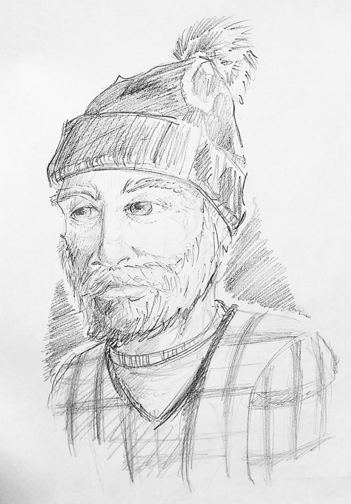 A sketch of a man suspected of exposing himself to a woman in Hallowell recently.