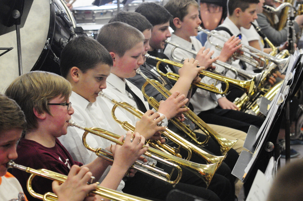 Horns section of the sixth grade honors band under direction of Larry Jackson on Friday at Gardiner Area High School.