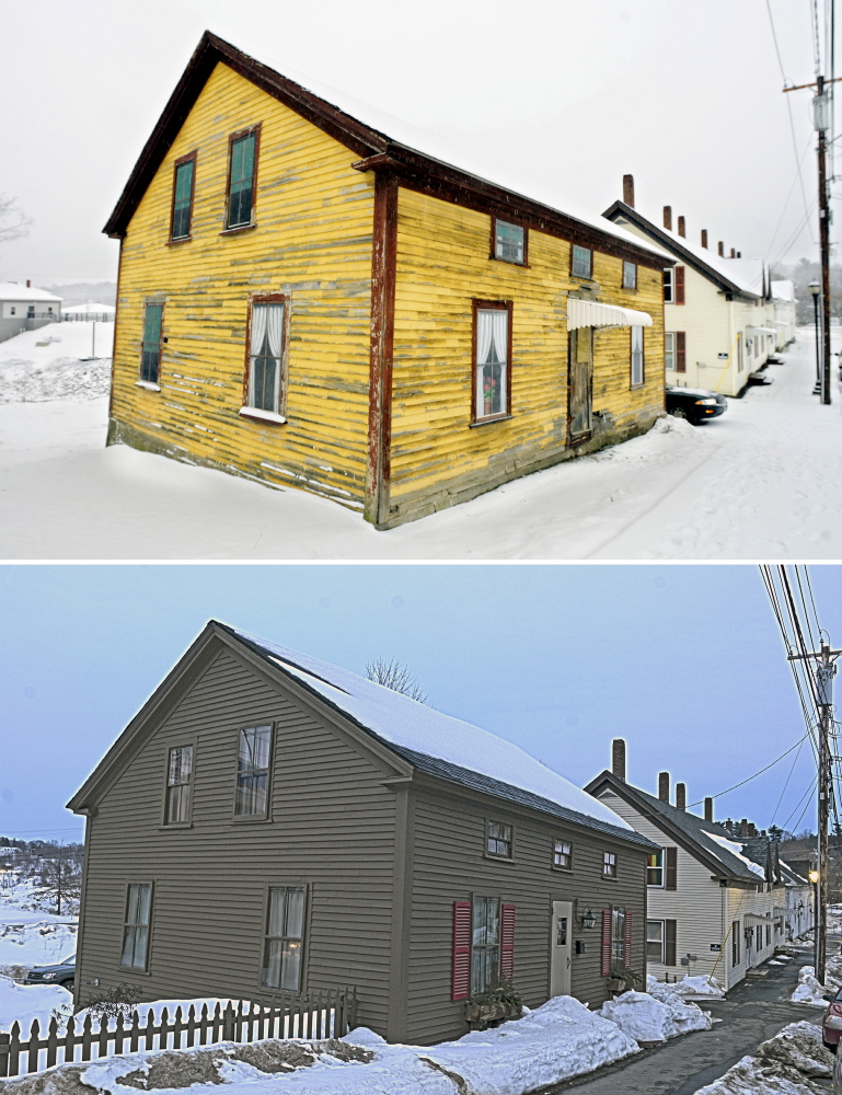 Top photo is exterior of 25 Bond St. in Augusta taken on Jan. 16, 2013. The bottom photo from March 4, 2015, shows it after extensive renovation work.