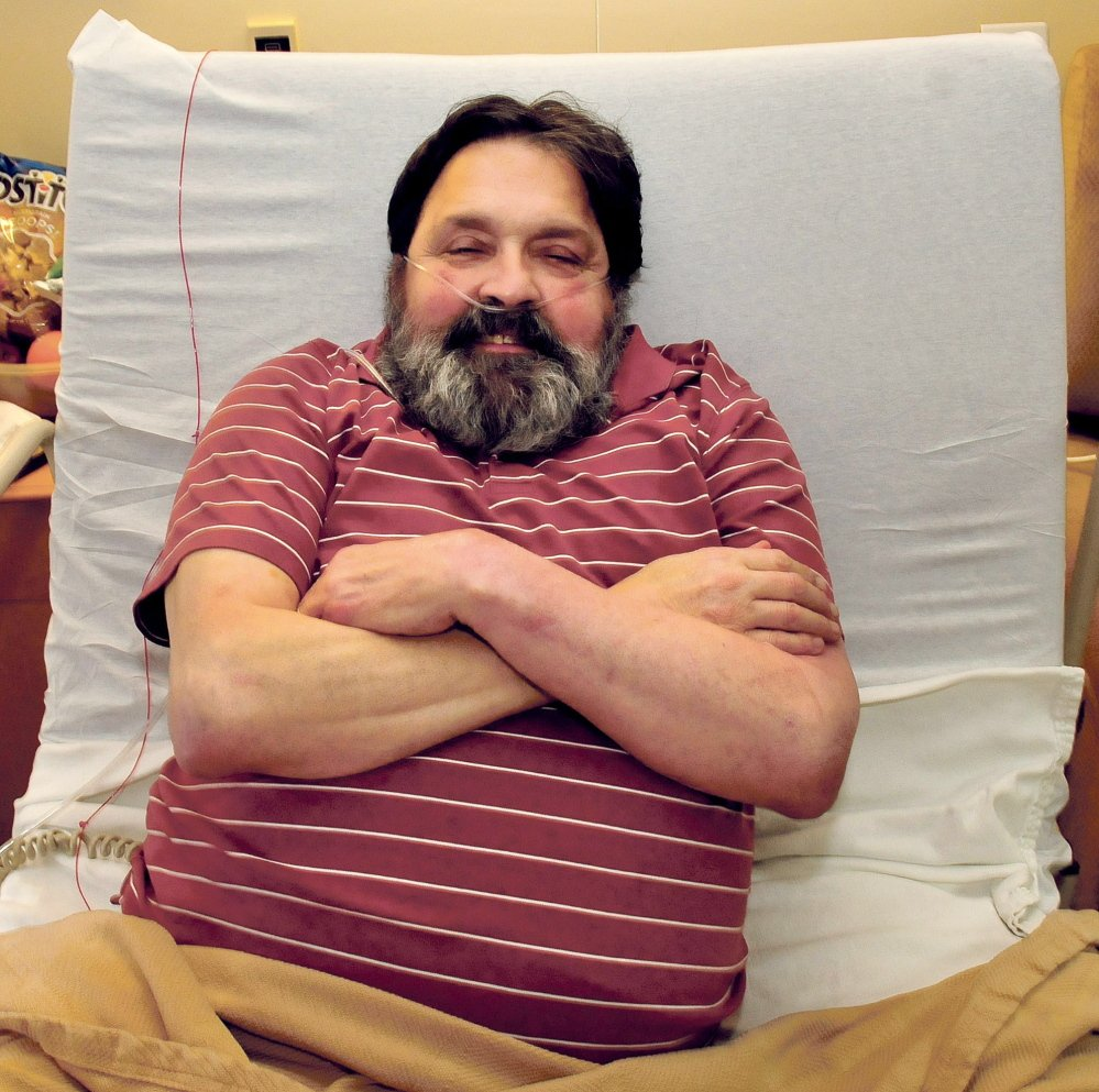 Danny Karter, former teacher and Waterville police officer, in his room at Oak Grove Center rehabilitation facility in Waterville on Monday.