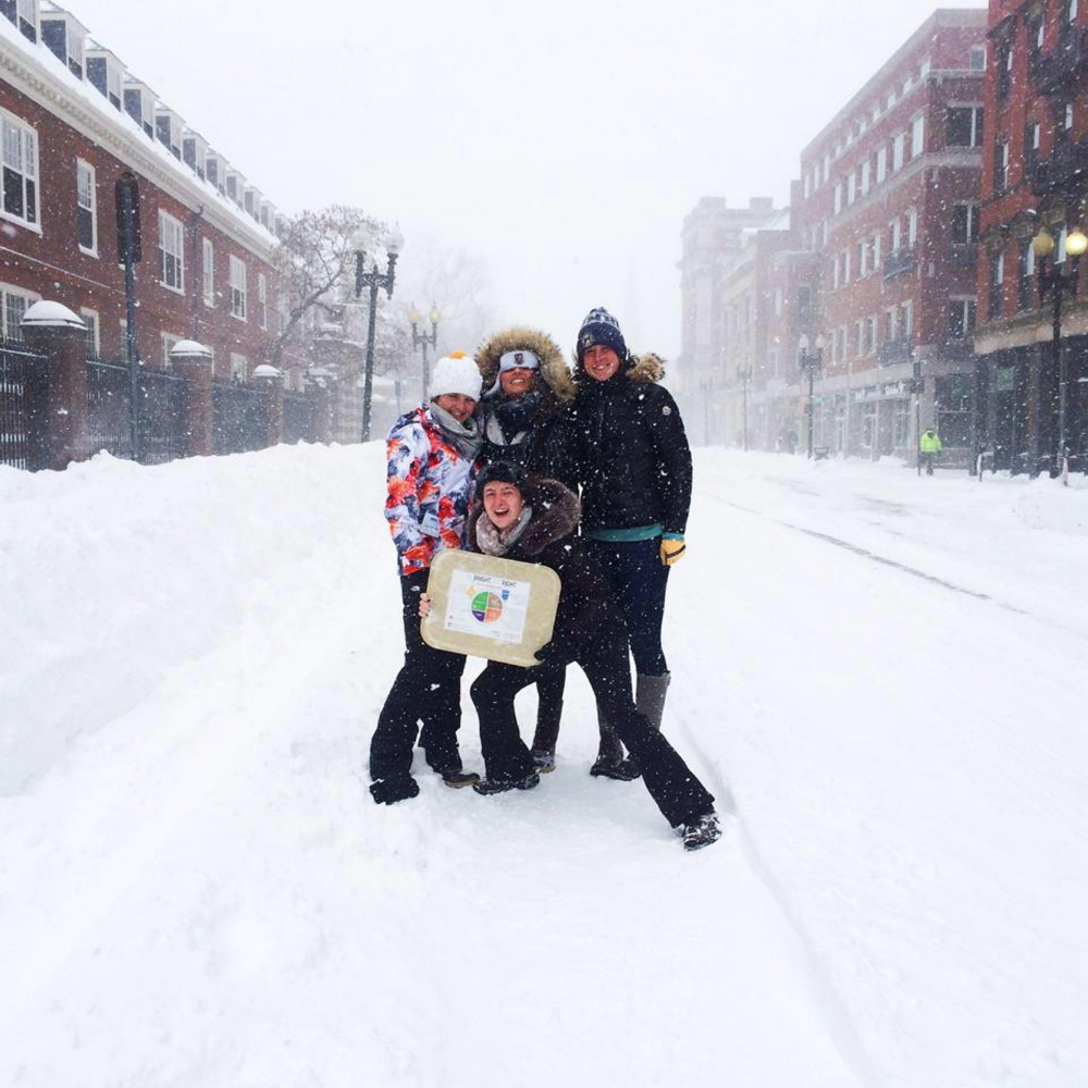 Sarah Finnemore, of Norridgewock, left, and friends make the most of one of the snowstorms to hit the Boston area, including Cambridge, this winter.