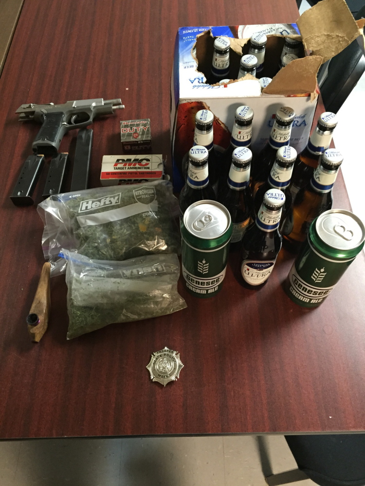 CAP.cutline_standalone:State Police said beer, marijuana, a firearm and ammunition were found in a routine probation check at the home of Bruce Morris of Bingham, who was convicted of voluntary manslaughter in the death of Stone Goeman of Madison in 2000.