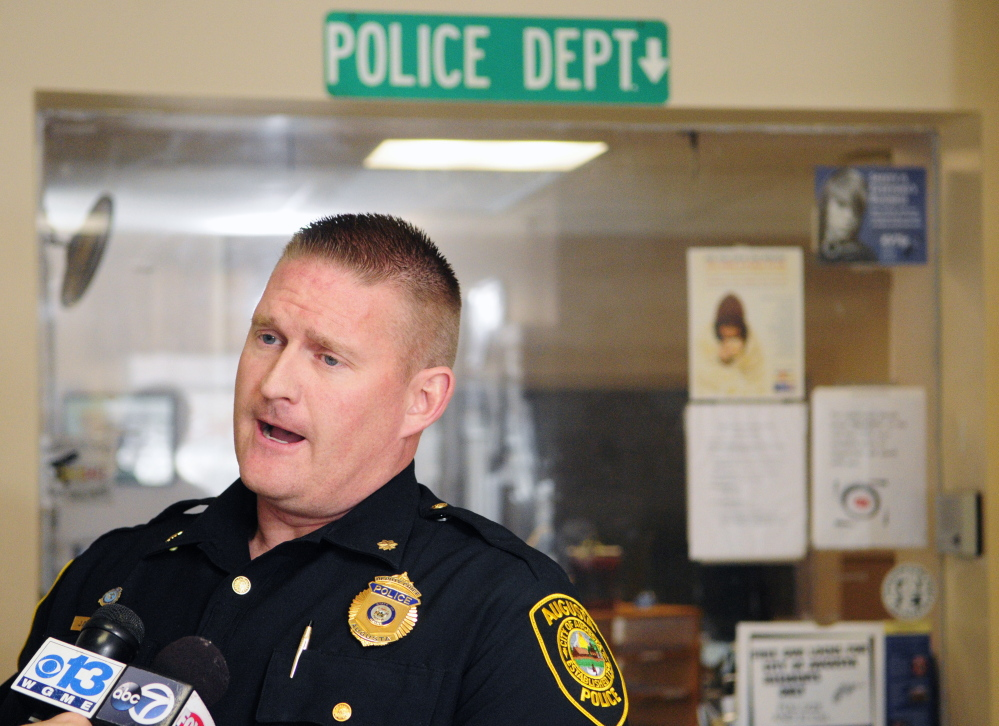 Augusta Deputy Chief Jared Mills, speaking Tuesday during a news conference at Augusta police headquarters on Union Street in Augusta, explains a plan to let people making online sales meet in the Police Department's lobby to complete such transactions.