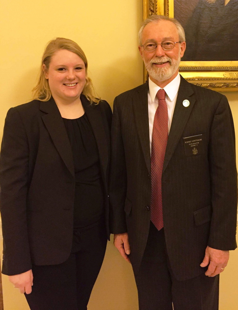 Sen. Rod Whittemore, R-Skowhegan, and Samantha Turcotte at the State House.