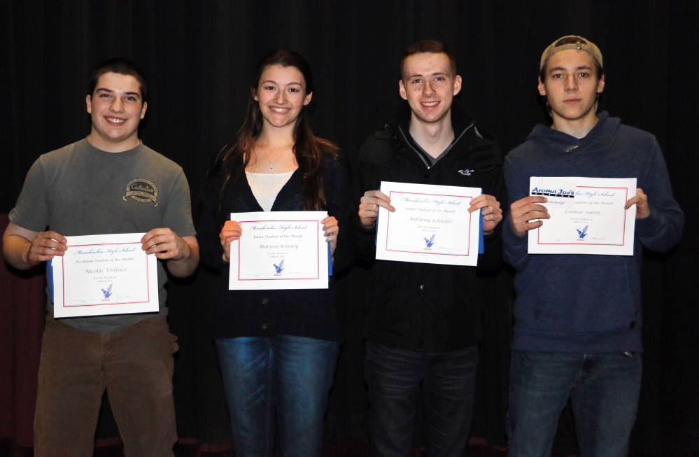 Messalonskee High School announced its March Students of the Month. They are, from left, are freshman Nicolas Veilleux, junior Marissa Kinney, senior Anthony Schissler and sophomore Connor Smith. These students were chosen for their academic improvement/excellence and their contribution to the Messalonskee school community, according to a news release from the school. The students were nominated by MHS faculty members and chosen by the school's Culture Committee and Leadership Team. The students' pictures will be on display. In addition, they will receive preferential parking at the school as well as a variety of items donated by local businesses that support Messalonskee's goal of honoring excellence in the school.