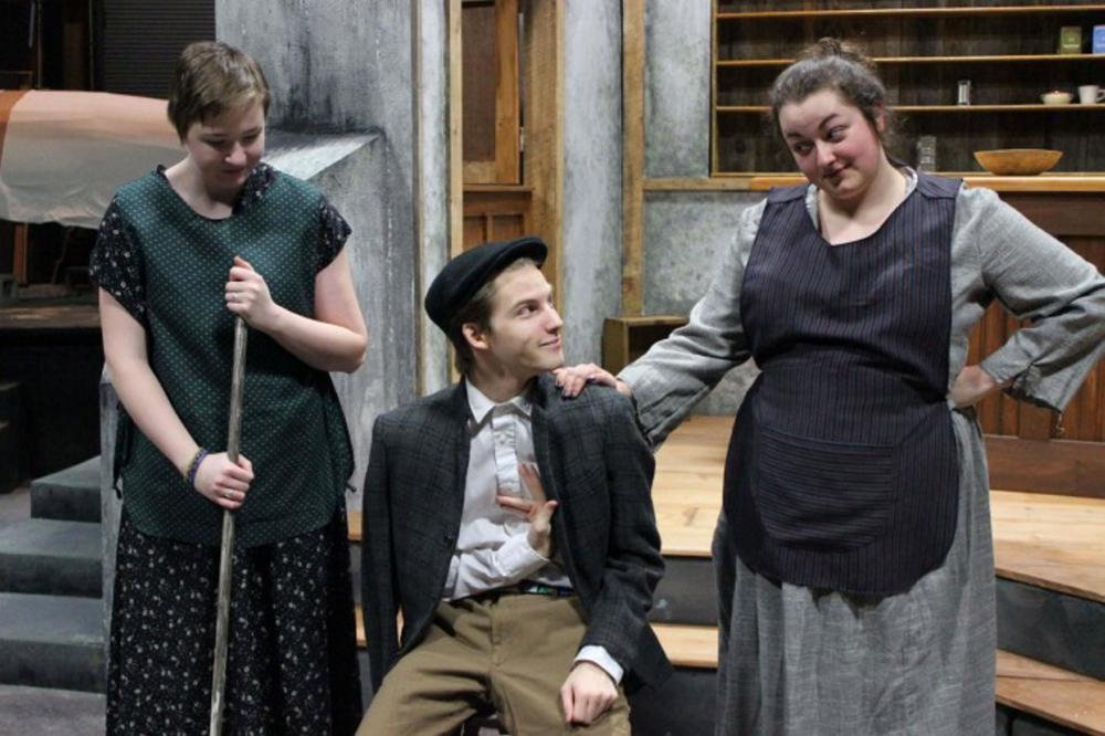 "ON STAGE: UMF students, from left, Abigail Lindquist, Aaron Verrill and Shelby Thibodeau bring Martin McDonagh's ""The Cripple of Inishmaan"" to life at the University's Alumni Theater March 19-22."