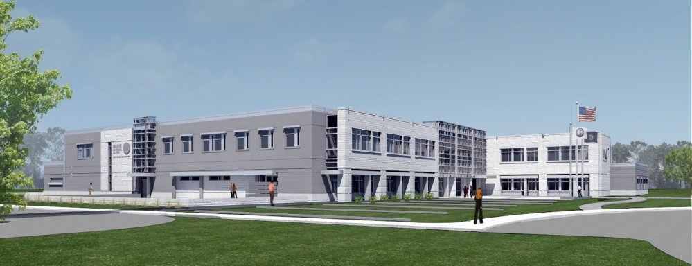 An artist's rendering of the planned Maine National Guard Headquarters in north Augusta, which recently received federal funding for the $32 million project.