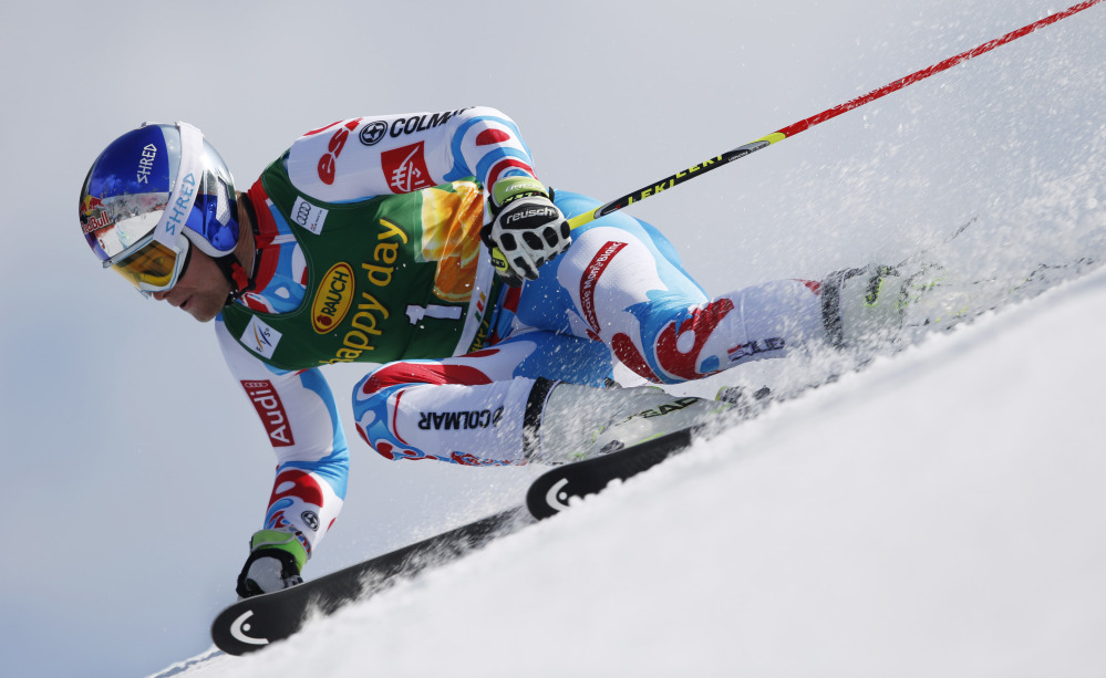 Alexis Pinturault, speeds down the course in winning a World Cup giant slalom competition Saturday in Kranjska Gora, Slovenia.