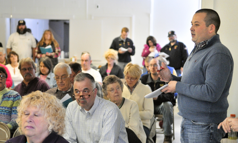 Richard A. LaBelle speaks during a discussion Saturday at the Rome Town Meeting in the Rome Community Center. LaBelle won the election for second selectman and was to be sworn in after the meeting.