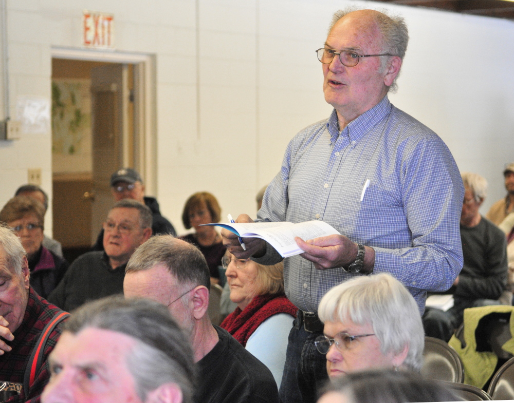 Paul Anderson takes part in a discussion Saturday during the Rome Town Meeting in the Rome Community Center.