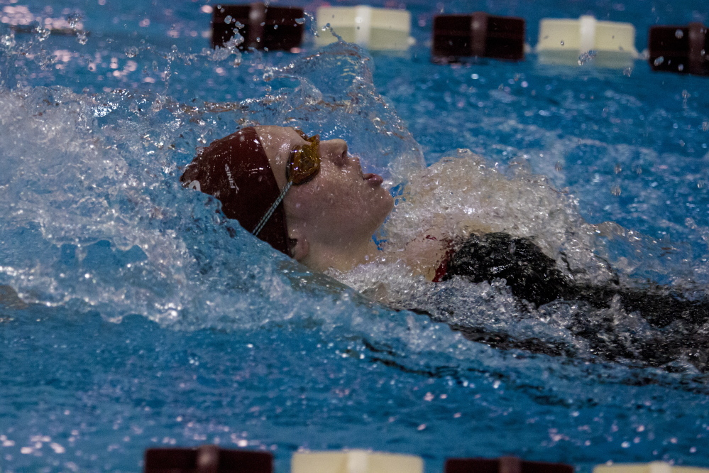 Bates junior Lindsey Prelgovisk competes at a Jan. 5 meet against Middlebury. Prelgovisk will compete in the NCAA Division III national championships this week in Texas. She will swim the 100-yard butterfly and 400 freestyle.