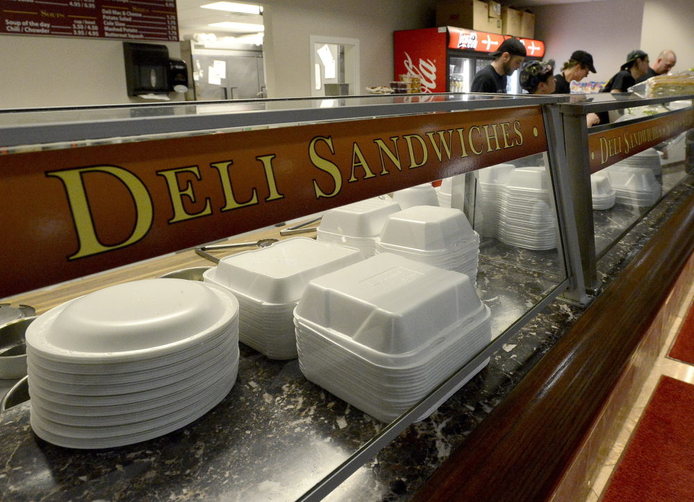 Many restaurants, including City Deli at One City Center, will need to find a different type of containers for food when Portland's ban on polystyrene foam goes into effect April 15.