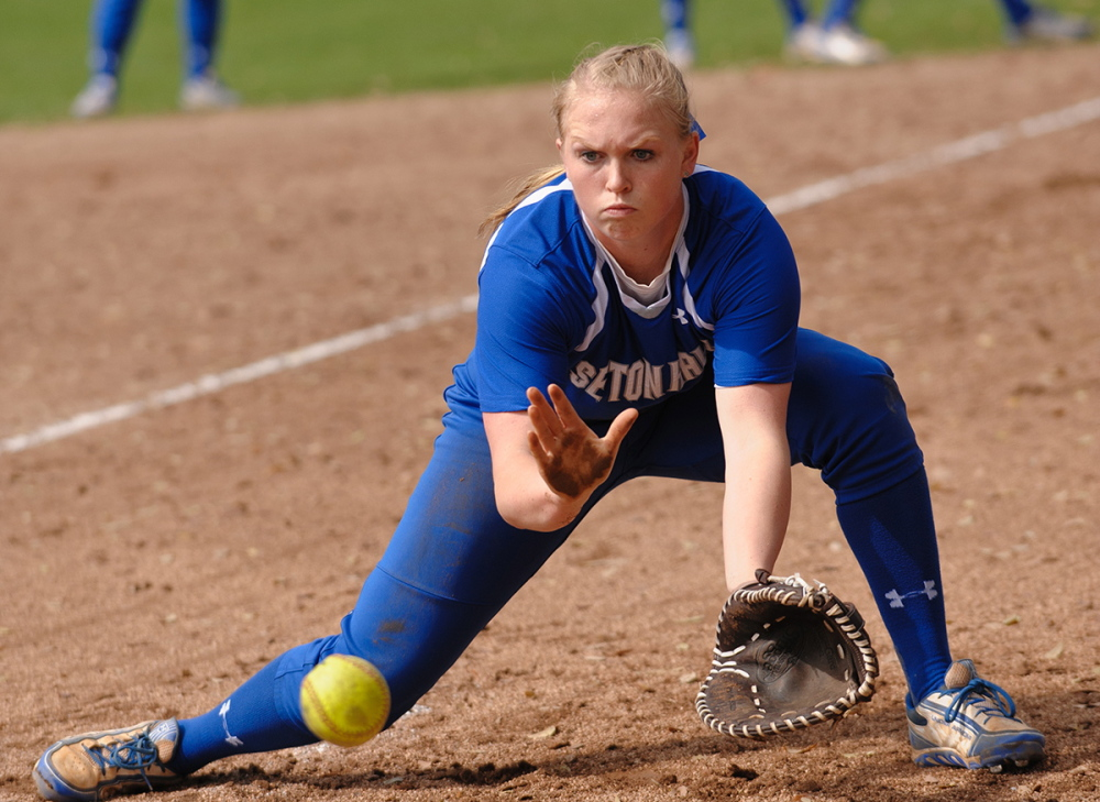 Contributed photo/Seton Hall athletics   Skowhegan Area High School graduate Whitney Jones is making an impact on the Seton Hall softball team. Jones is hitting .316 with four home runs and 20 RBI in 26 games for the Pirates.